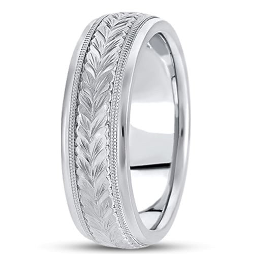 14K Gold Mens Engraved Wedding Band (6.5mm) - JewelryAffairs
