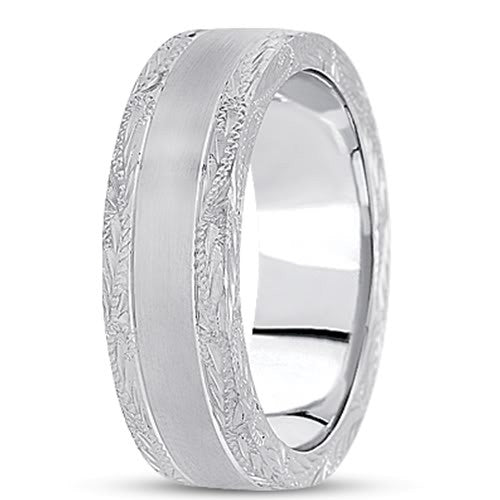14K Gold Mens Engraved Wedding Band (7mm) - JewelryAffairs