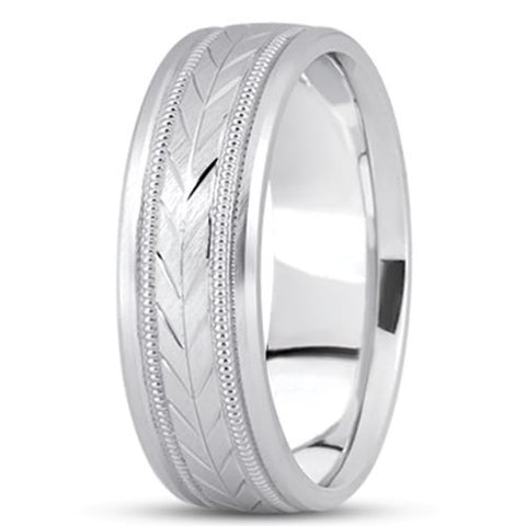 14K Gold Mens Fancy Milgrain Wedding Band (6.5mm) - JewelryAffairs