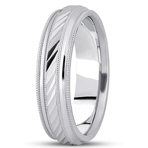 14K Gold Mens Fancy Milgrain Wedding Band (6mm) - JewelryAffairs