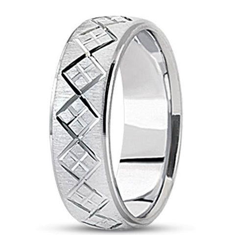 14K Gold Mens Fancy Diamond Cut Wedding Band (7mm) - JewelryAffairs