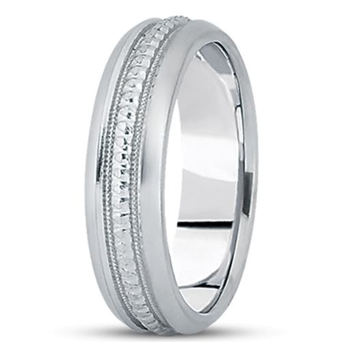 14K Gold Mens Fancy Milgrain Wedding Band (7mm) - JewelryAffairs