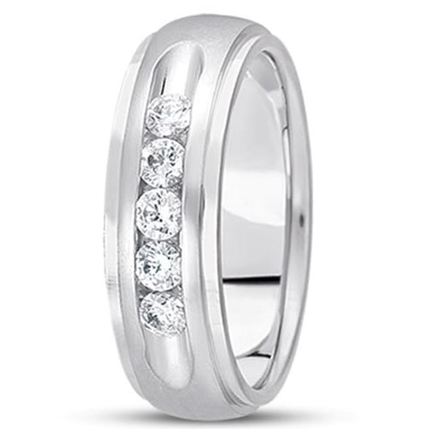 0.75ctw Diamond 14K Gold  Wedding Band (8mm) - (F - G Color, SI2 Clarity) - JewelryAffairs