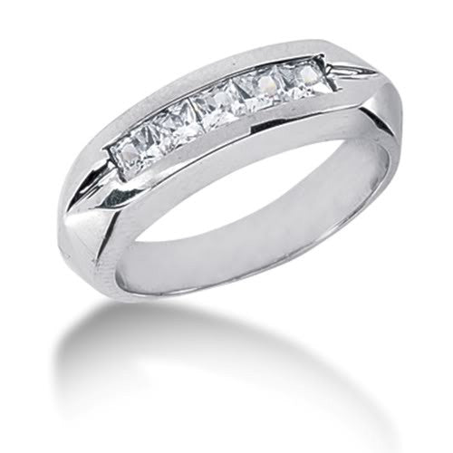 Princess Cut Diamond Mens Ring in 14k white gold (0.85cttw, G-H Color, SI1 Clarity) - JewelryAffairs  - 1