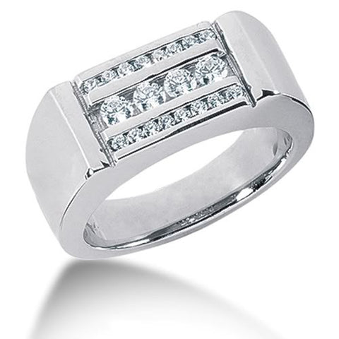 Round Brilliant Diamond Mens Ring in 14k white gold  (0.56cttw, F-G Color, SI2 Clarity) - JewelryAffairs  - 1