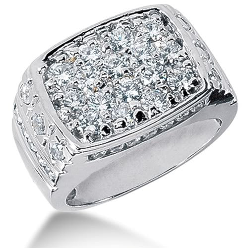 Round Brilliant Diamond Mens Ring in 14k white gold  (2.68cttw, F-G Color, SI2 Clarity) - JewelryAffairs  - 1