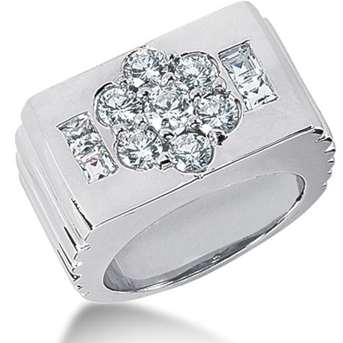 Diamond Mens Ring in 14k white gold (1.83cttw, G-H Color, SI1 Clarity) - JewelryAffairs  - 1