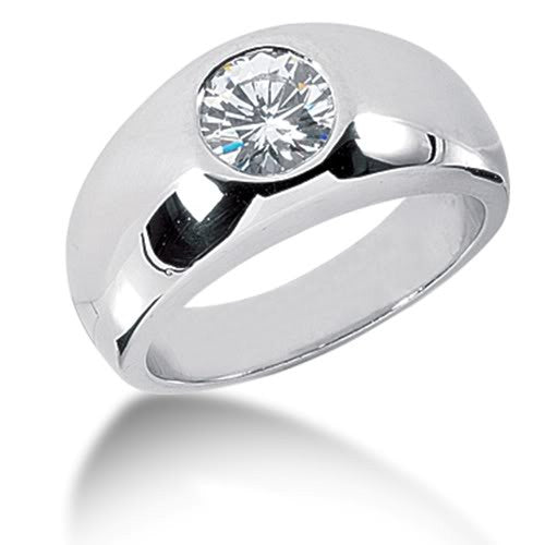 Round Brilliant Diamond Mens Ring in 14k white gold (0.5cttw, F-G Color, SI2 Clarity) - JewelryAffairs  - 1
