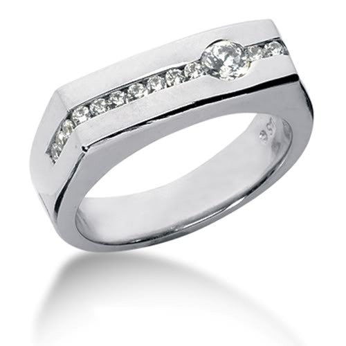 Round Brilliant Diamond Mens Ring in 14k white gold (0.45cttw, F-G Color, SI2 Clarity) - JewelryAffairs  - 1