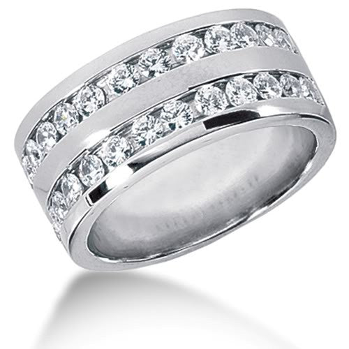 Round Brilliant Diamond Mens Ring in 14k white gold (0.96cttw, F-G Color, SI2 Clarity) - JewelryAffairs  - 1