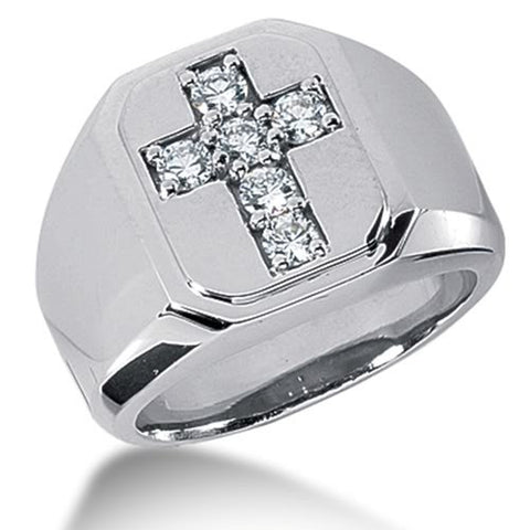 Round Brilliant Diamond Mens Ring in 14k white gold (0.3cttw, F-G Color, SI2 Clarity) - JewelryAffairs  - 1