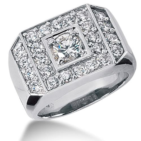 Round Brilliant Diamond Mens Ring in 14k white gold (1.07cttw, F-G Color, SI2 Clarity) - JewelryAffairs  - 1
