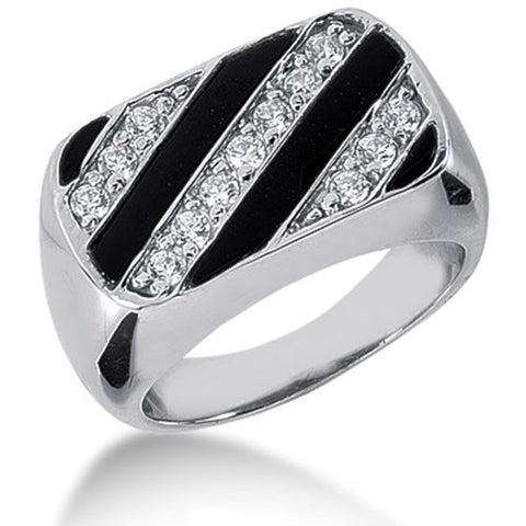 Diamond and Onyx Mens Ring in 14k white gold (0.33cttw, F-G Color, SI2 Clarity) - JewelryAffairs  - 1