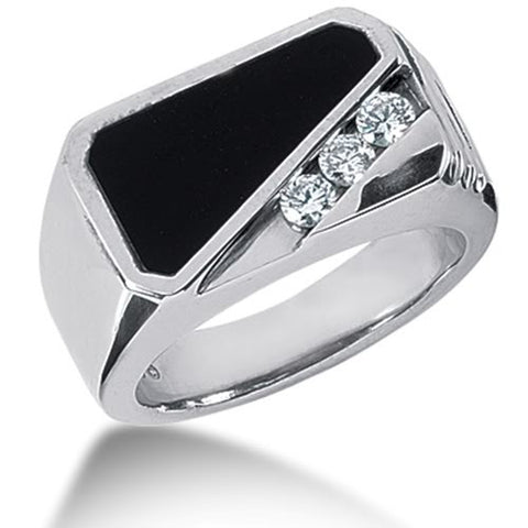 Diamond and Onyx Mens Ring in 14k white gold (0.15cttw, F-G Color, SI2 Clarity) - JewelryAffairs  - 1