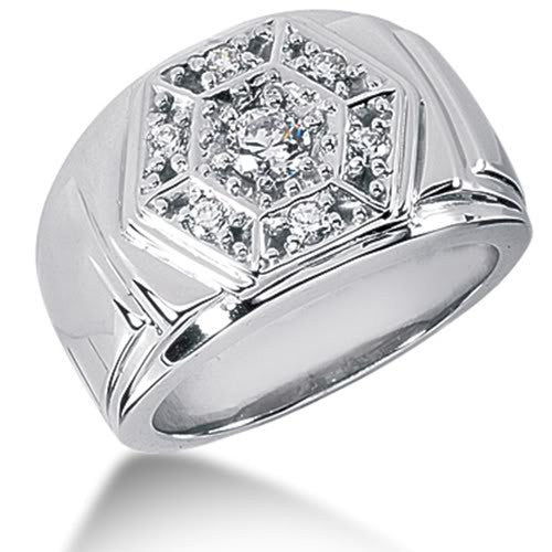 Round Brilliant Diamond Mens Ring in 14k white gold (0.48cttw, F-G Color, SI2 Clarity) - JewelryAffairs  - 1