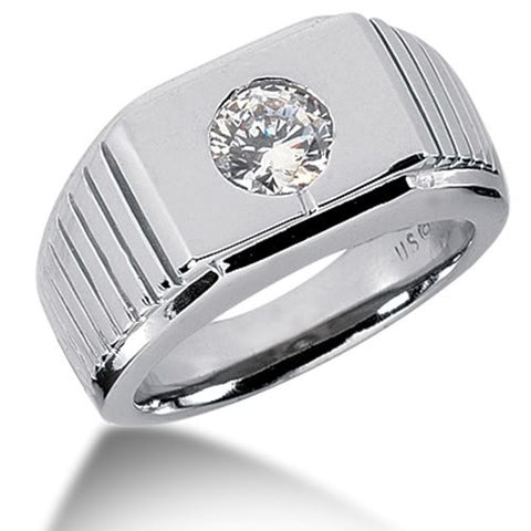 Round Brilliant Diamond Mens Ring in 14k white gold (0.25cttw, F-G Color, SI2 Clarity) - JewelryAffairs  - 1