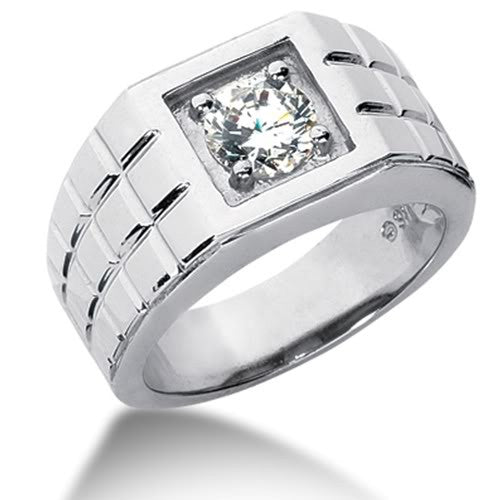 Round Brilliant Diamond Mens Ring in 14k white gold (0.25cttw, F-G Color, SI2 Clarity) - JewelryAffairs
