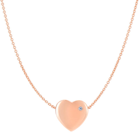 14K Rose Gold Puffy Diamond Heart Necklace - 16 To 17 Inches Expandable - JewelryAffairs  - 1