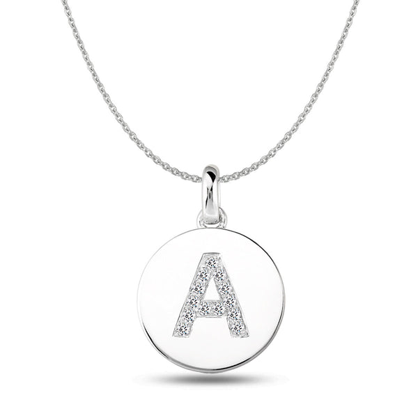 """A"" Diamond Initial  14K White Gold Disk Pendant (0.13ct) - JewelryAffairs  - 1"