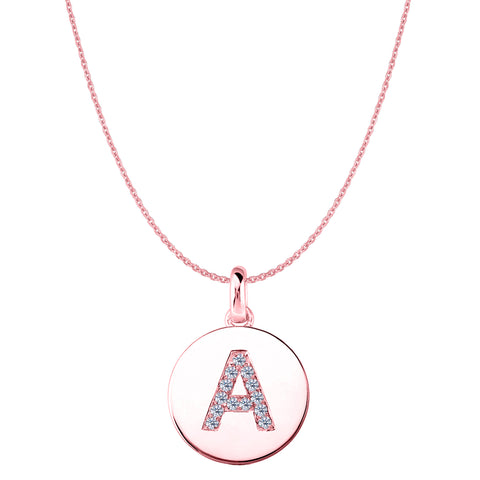 """A"" Diamond Initial 14K Rose Gold Disk Pendant (0.13ct) - JewelryAffairs  - 1"