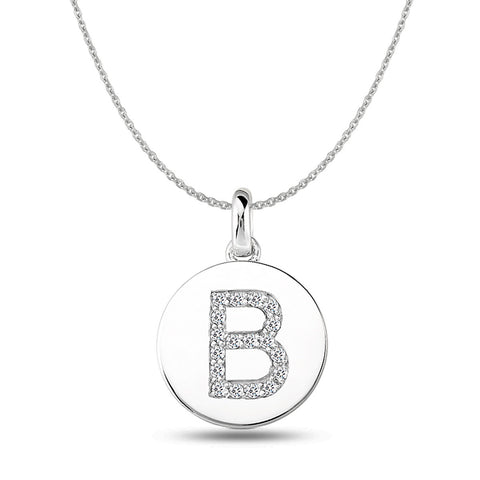"""B"" Diamond Initial  14K White Gold Disk Pendant (0.18ct) - JewelryAffairs  - 1"
