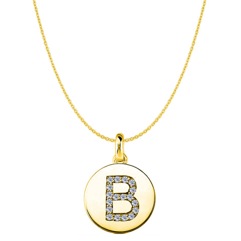 """B"" Diamond Initial 14K Yellow Gold Disk Pendant (0.18ct) - JewelryAffairs  - 1"