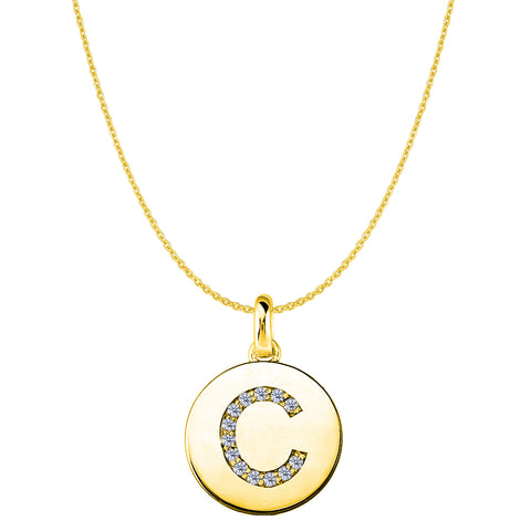 """C"" Diamond Initial 14K Yellow Gold Disk Pendant (0.13ct) - JewelryAffairs  - 1"