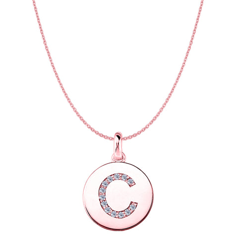 """C"" Diamond Initial 14K Rose Gold Disk Pendant (0.13ct) - JewelryAffairs  - 1"