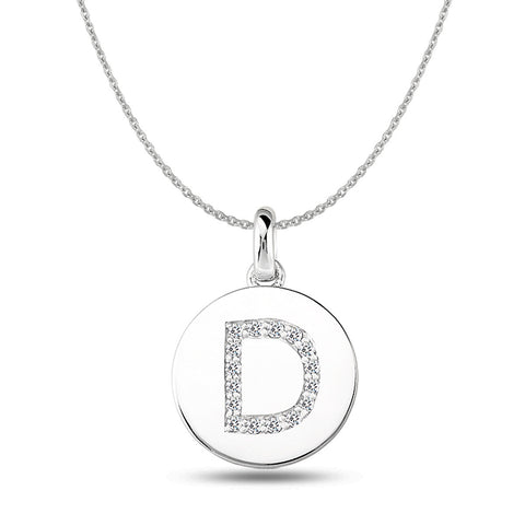 """D"" Diamond Initial  14K White Gold Disk Pendant (0.16ct) - JewelryAffairs  - 1"