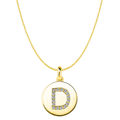 """D"" Diamond Initial 14K Yellow Gold Disk Pendant (0.16ct) - JewelryAffairs  - 1"