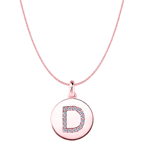 """D"" Diamond Initial 14K Rose Gold Disk Pendant (0.16ct) - JewelryAffairs  - 1"