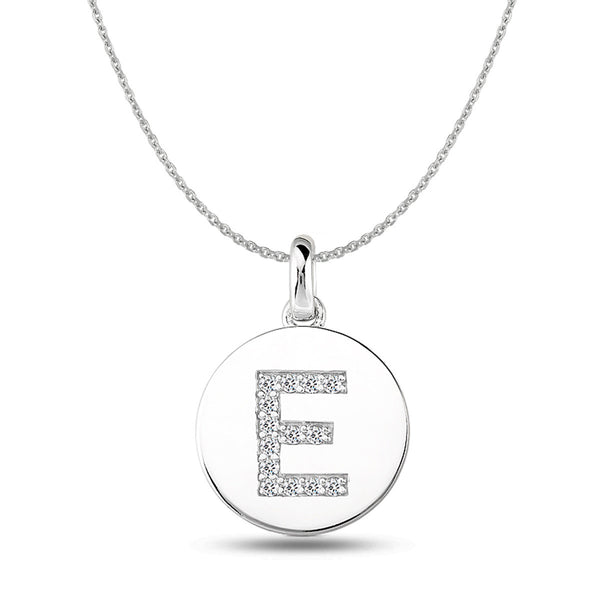 """E"" Diamond Initial  14K White Gold Disk Pendant (0.14ct) - JewelryAffairs  - 1"