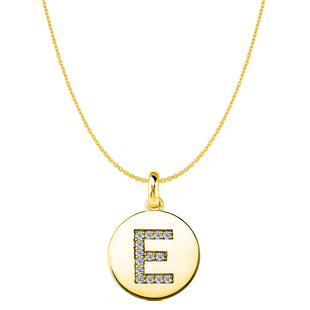 """E"" Diamond Initial 14K Yellow Gold Disk Pendant (0.14ct) - JewelryAffairs  - 1"