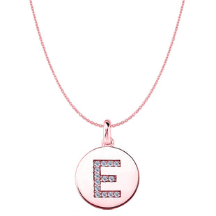 """E"" Diamond Initial 14K Rose Gold Disk Pendant (0.14ct) - JewelryAffairs  - 1"
