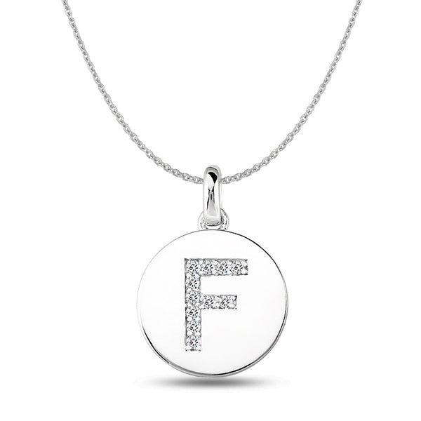 """F"" Diamond Initial  14K White Gold Disk Pendant (0.11ct) - JewelryAffairs  - 1"