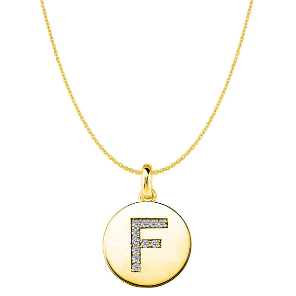 """F"" Diamond Initial 14K Yellow Gold Disk Pendant (0.11ct) - JewelryAffairs  - 1"