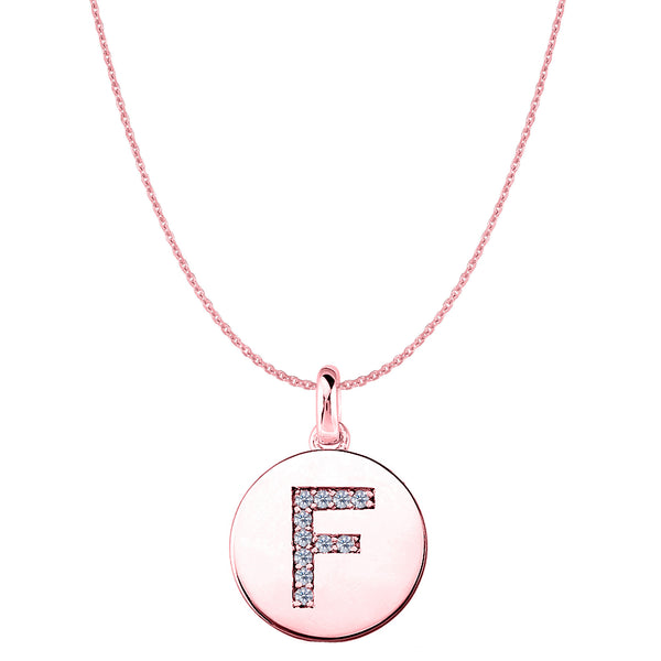 """F"" Diamond Initial 14K Rose Gold Disk Pendant (0.11ct) - JewelryAffairs  - 1"
