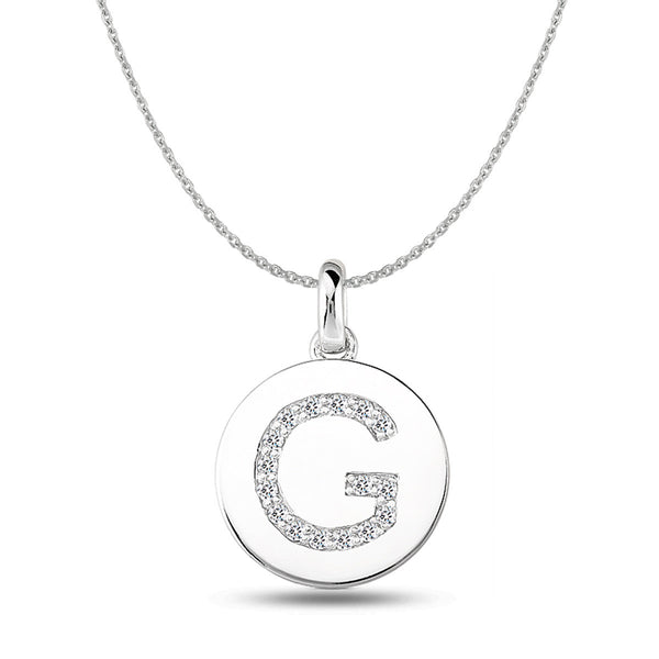 """G"" Diamond Initial  14K White Gold Disk Pendant (0.16ct) - JewelryAffairs  - 1"
