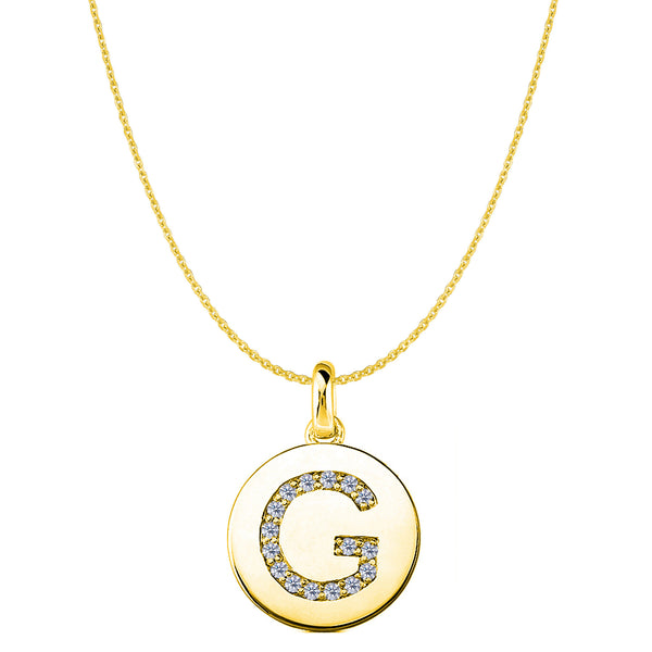"""G"" Diamond Initial 14K Yellow Gold Disk Pendant (0.16ct) - JewelryAffairs  - 1"