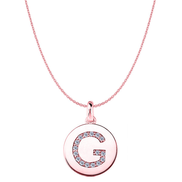 """G"" Diamond Initial 14K Rose Gold Disk Pendant (0.16ct) - JewelryAffairs  - 1"