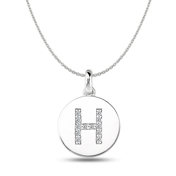 """H"" Diamond Initial  14K White Gold Disk Pendant (0.12ct) - JewelryAffairs  - 1"