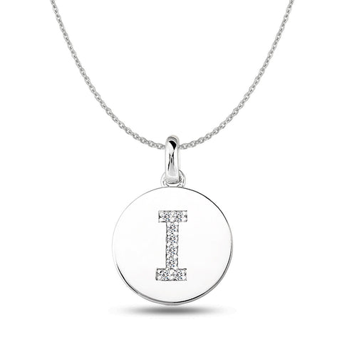 """I"" Diamond Initial  14K White Gold Disk Pendant (0.08ct) - JewelryAffairs  - 1"