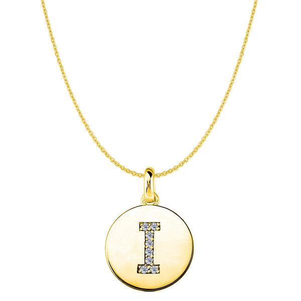 """I"" Diamond Initial 14K Yellow Gold Disk Pendant (0.08ct) - JewelryAffairs  - 1"