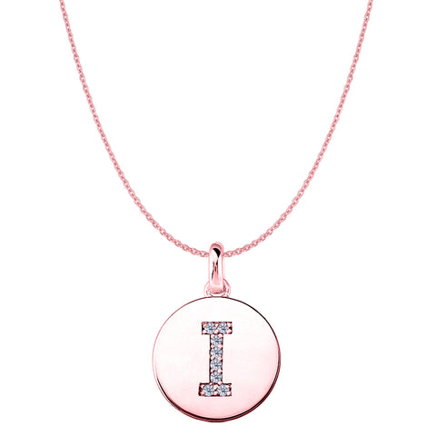 """I"" Diamond Initial 14K Rose Gold Disk Pendant (0.08ct) - JewelryAffairs  - 1"