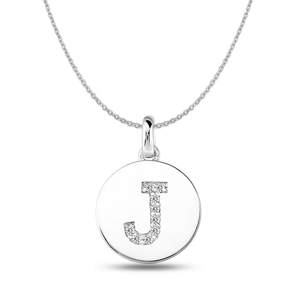 """J"" Diamond Initial  14K White Gold Disk Pendant (0.09ct) - JewelryAffairs  - 1"
