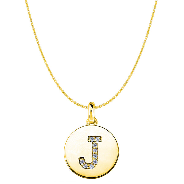 """J"" Diamond Initial 14K Yellow Gold Disk Pendant (0.09ct) - JewelryAffairs  - 1"
