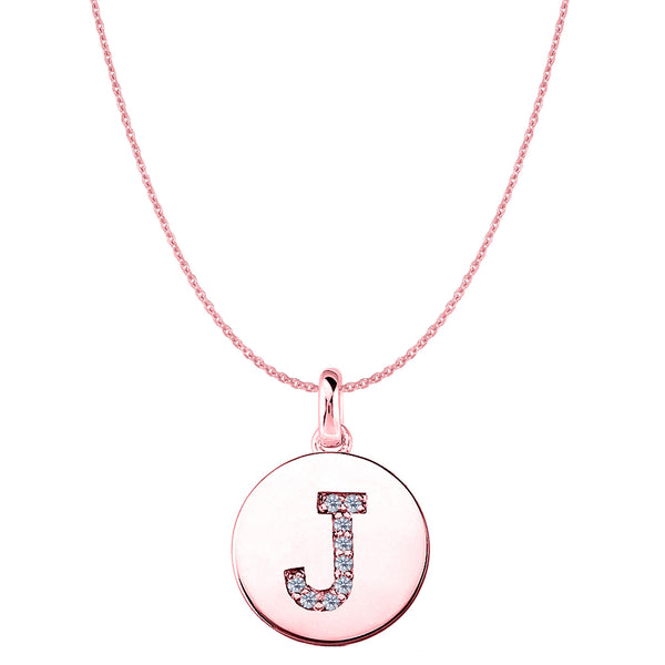 """J"" Diamond Initial 14K Rose Gold Disk Pendant (0.09ct) - JewelryAffairs  - 1"