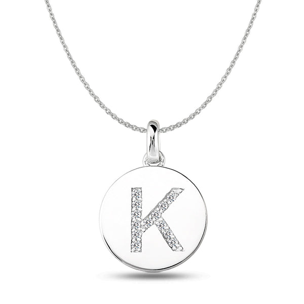"""K"" Diamond Initial  14K White Gold Disk Pendant (0.13ct) - JewelryAffairs  - 1"