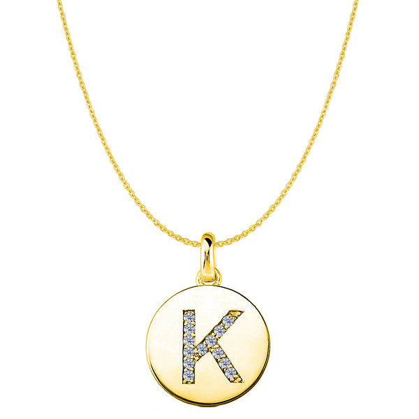 """K"" Diamond Initial 14K Yellow Gold Disk Pendant (0.13ct) - JewelryAffairs  - 1"