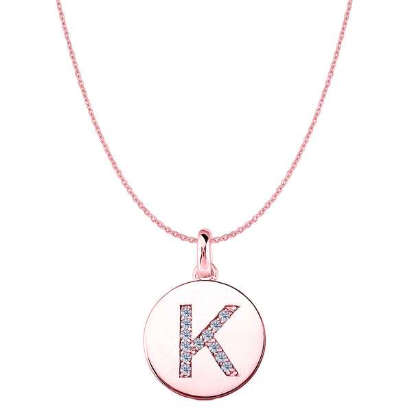 """K"" Diamond Initial 14K Rose Gold Disk Pendant (0.13ct) - JewelryAffairs  - 1"
